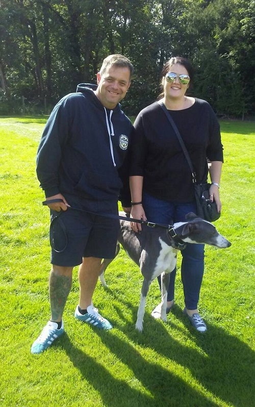 Handsome blue and white hound Ian left the kennels and changed his name to Jaxon with the Southall family