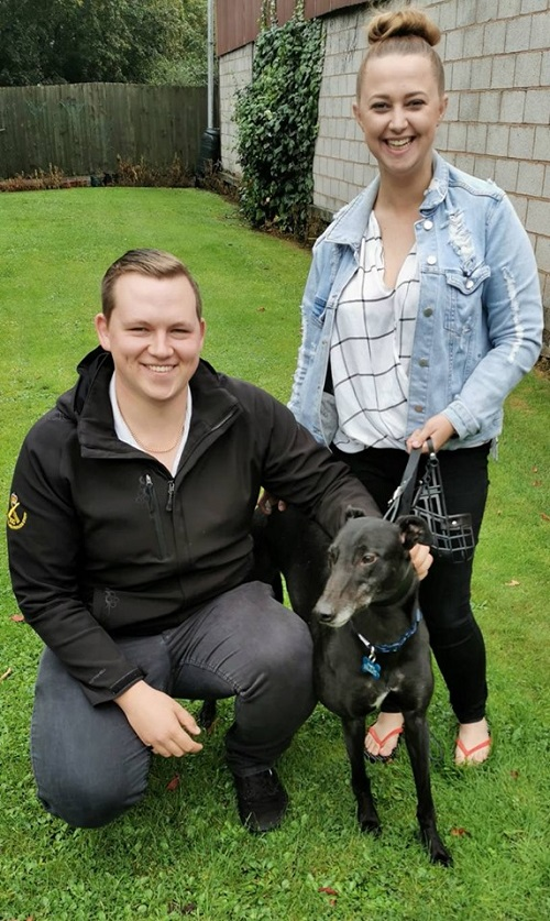 Matthew and Siobhon came to the kennels to collect Dessie, he kept his name as he joined them for his new home.