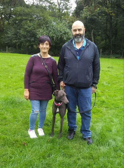 Blue girl Lulu became Bella as she left with the Taylor family to start her new life of leisure as a much loved family pet