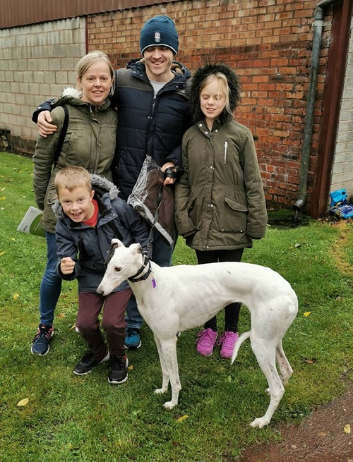 The Fountain family came to the kennels to collect Roxie and she kept her name as she left with them for her new home.
