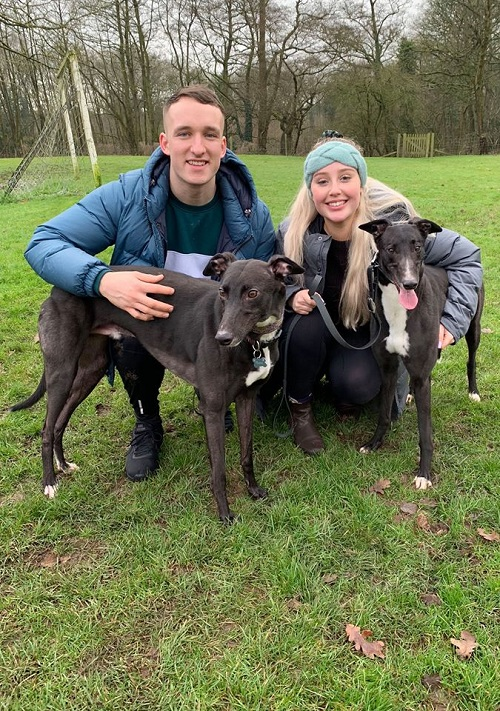 Humbug changed her name to Peach as she left the kennels for her new life with Eleanor, Spencer and their hound Fonzie