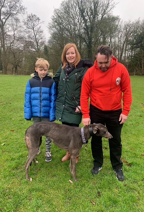 Pretty girl Jenni changed her name to Millie as she left the kennels for her new life with the Gough family